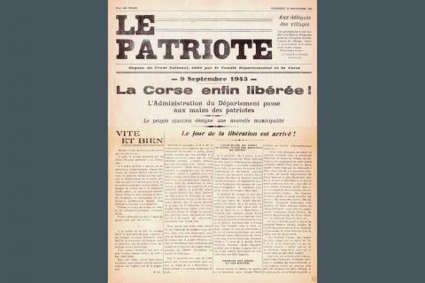 La Une du Patriote, journal du Front National (résistants communistes)