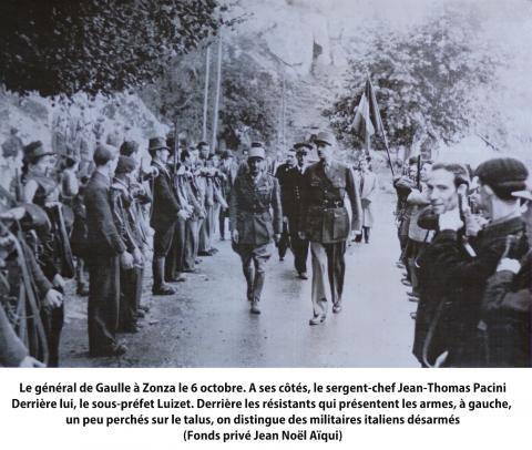Le général de Gaulle à Zonza le 6 octobre 1943