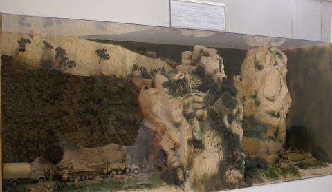 Maquette représentant l'attaque du tunnel de l'Usciolu