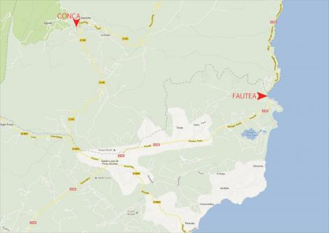 Carte des environs de Conca et de Fautea