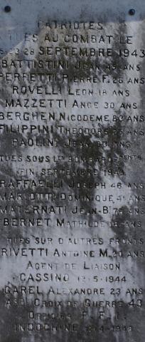 Plaque apposée sur le monument Barchetta en mémoire des patriotes tués au combat