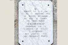 Stèle commémorant le 1er contact avec la Résistance en Corse