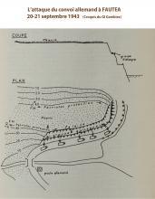 Croquis de l'attaque du convoi allemand à Fautea